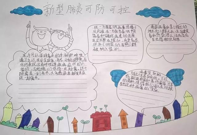手抄报的形式,将自己的祈愿和祝福传递给全国人民,同时发声:为武汉图片