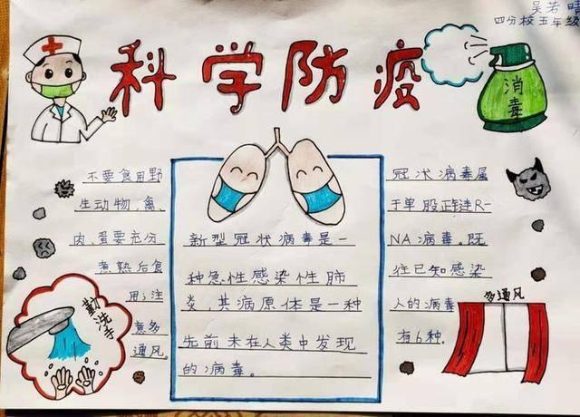 孩子们在不出门的前提下,通过制作手抄报,绘制思维导图等形式向奋战一