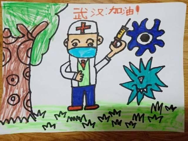 这是来自朱宸赋的绘画作品,支援湖北,打败病毒,武汉加油!中国加油!图片
