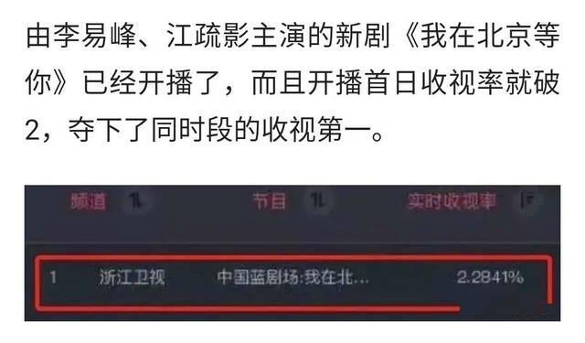网传李易峰《我在北京等你》收视第一,真实数据非常难堪,垫底了