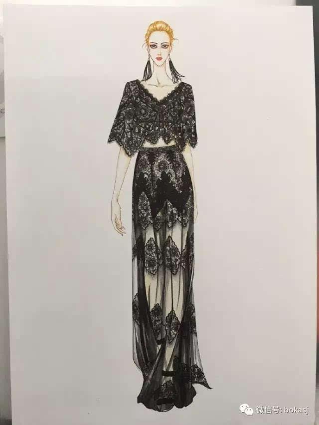 服装设计手绘图:妹子9款手绘时装画,你喜欢吗?