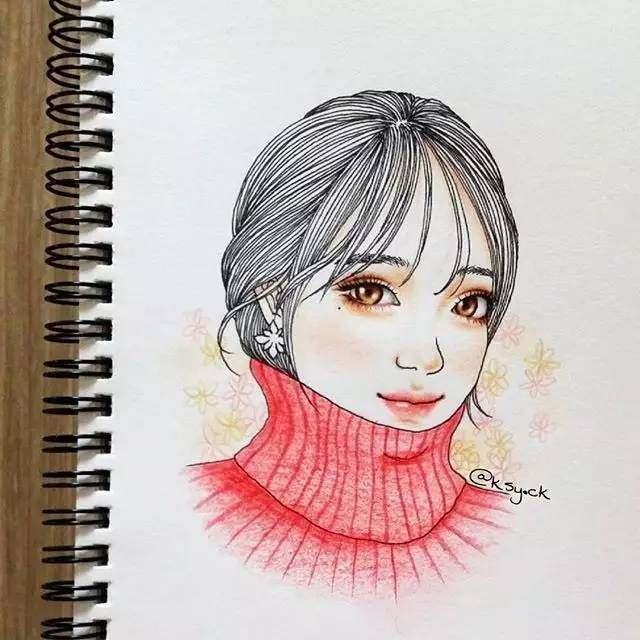 韩国美女彩铅笔下gd等明星的发丝都迷人!图片