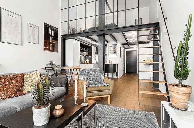 60平小户型loft工业风格装修效果图, 虽古老但美观