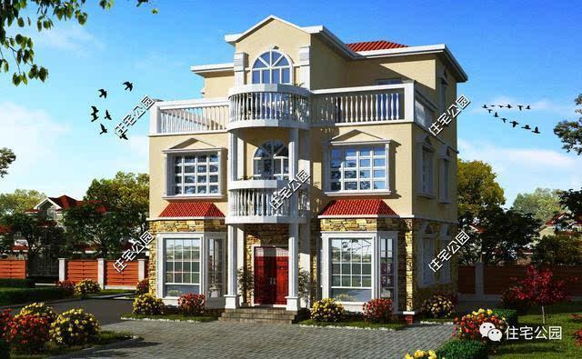 三层欧式坡顶农村别墅,一层文化石外墙,2,3层真石漆外墙,搭配起来