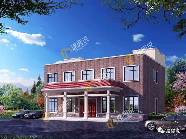 主体造价:56万—60万 这是一款框架结构的二层农村私人酒店别墅,多窗