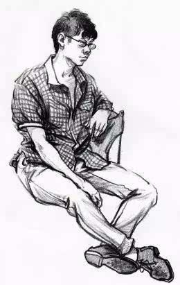 在画人物速写时如何找准人物站立的重心,一种是重心以锁骨窝为标准