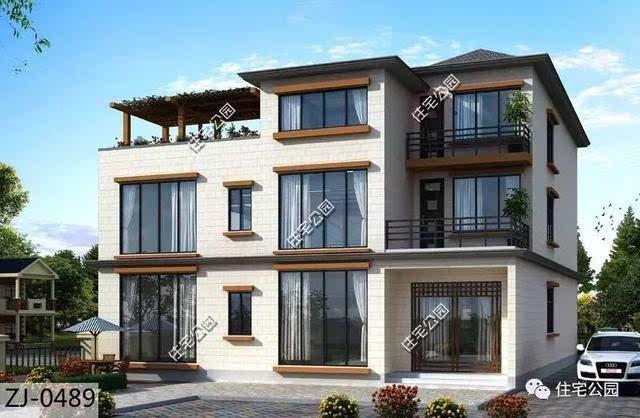 农村自建现代别墅户型,有庭院还有空中花园!