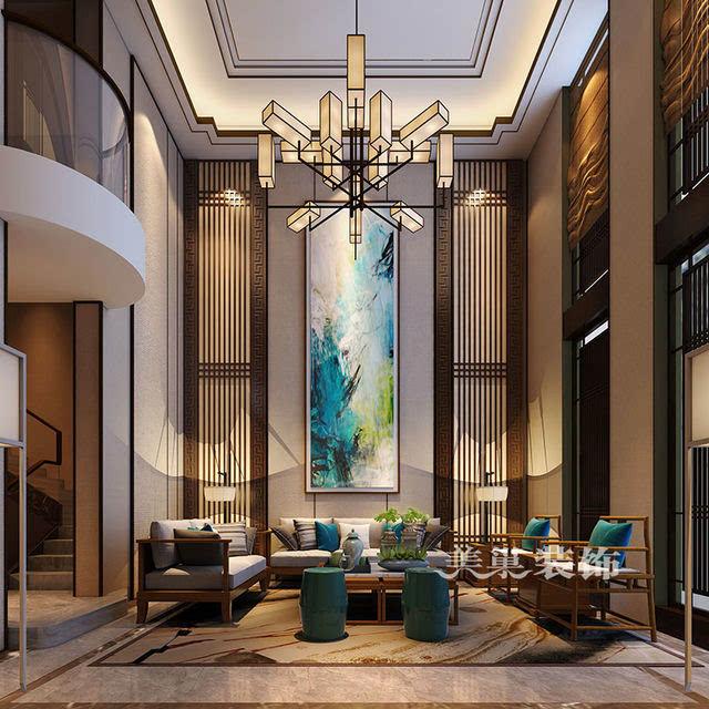 建业森林半岛280平别墅效果图新中式装修案例——沙发背景墙样板间