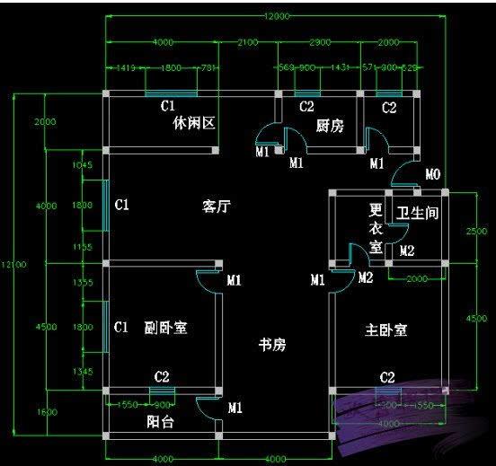 使用方法五步快速绘制室内 cad 平面图项目:室内 cad 平面图如下图