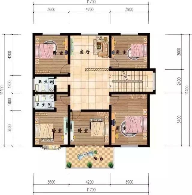 二层平面图:设有5个卧室,还有个小的家庭厅,楼梯与客厅之间有装修隔断