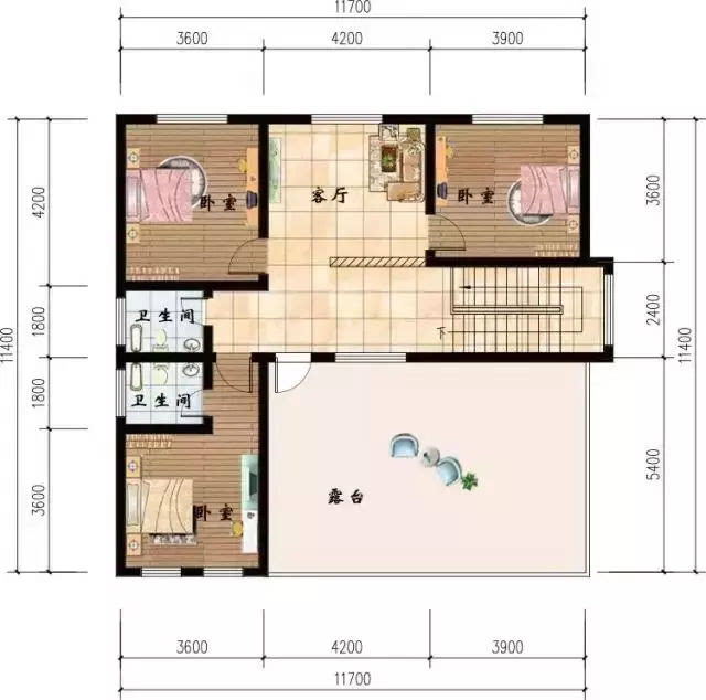 三层平面图:类似于二层的布局,多了个大露台,主卧室带卫生间.图片