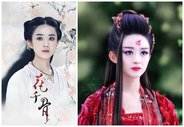 反观《楚乔传》,《花千骨》女主赵丽颖,通过各种角色需求,变换发型图片