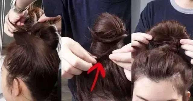 最后,用手抽几根头发垂落下来制造出凌乱的感觉,刘海处也是,这样可以图片