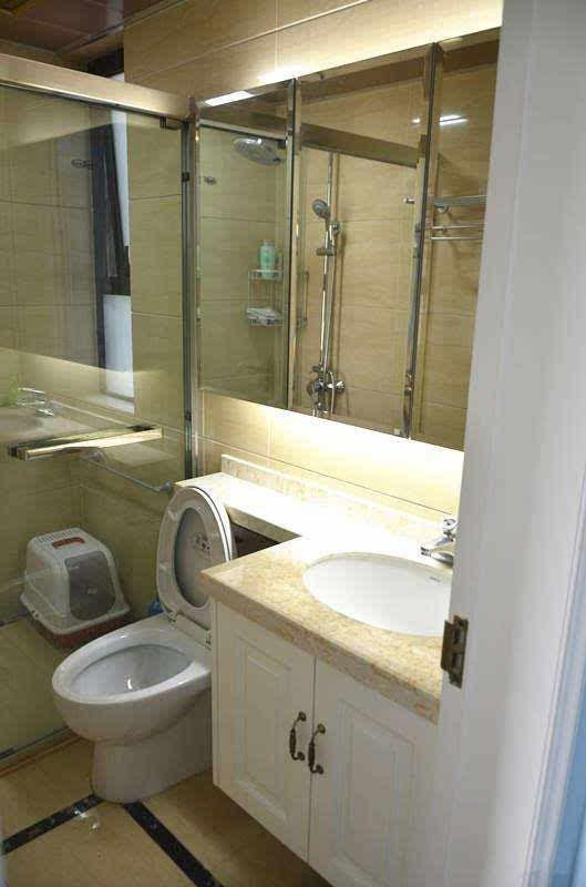 11,主卧里的卫生间,台盆是定制的,延伸到马桶后面了,我在想有天马桶图片
