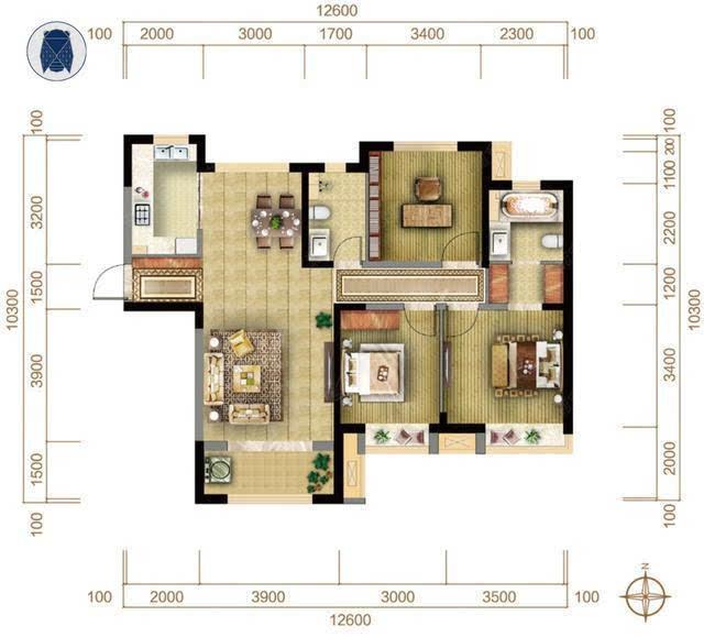 如同下面这个128平米三室两厅户型,南北通透,三面朝阳,...