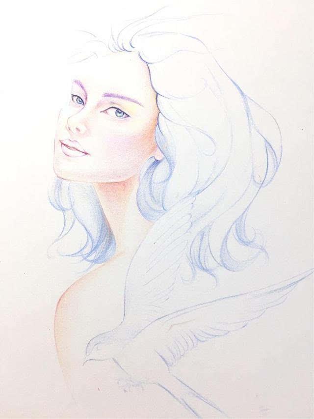 你觉得这个姑娘傲娇吗?小鸟伊人,彩铅手绘教程
