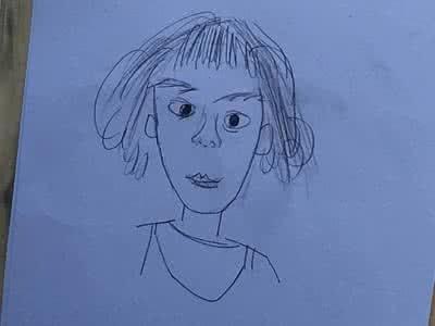女孩抬头侧脸手绘