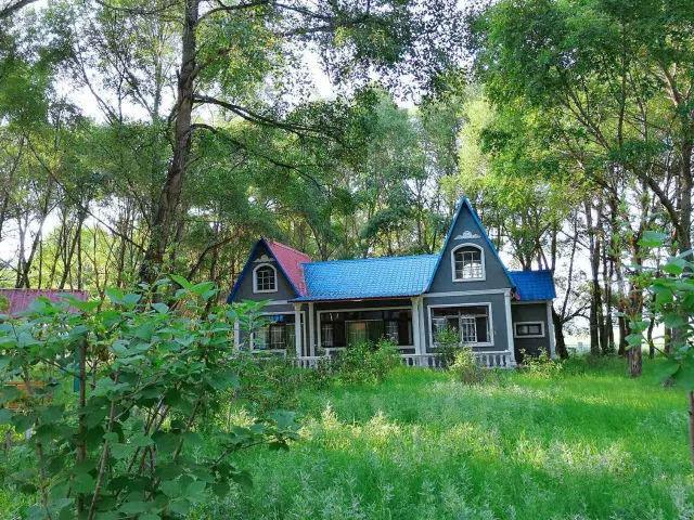 郁郁葱葱的树林里藏着或红或蓝的小屋,而我们,像是闯入了童话.