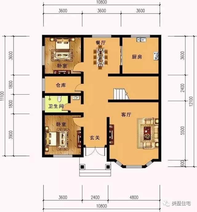一層平面圖:設有玄關,客廳,2臥室,廚房,餐廳,倉庫及衛生間.