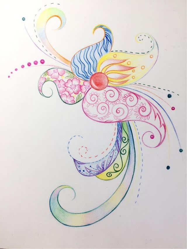彩铅初学者练习线条,和风凤尾花绘画教程