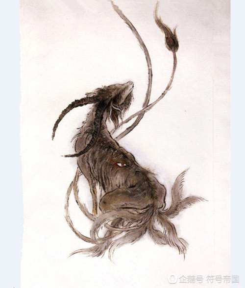 霸气凶兽黑白手绘画