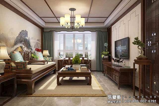 中式风格沙发背景墙装修效果图 客厅布置宜简洁自然,色彩和谐,电视墙