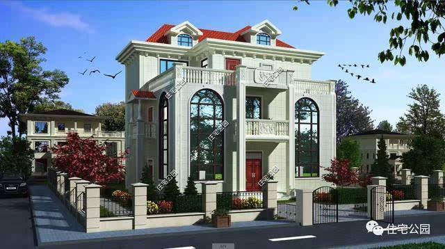 别墅效果图:经典的欧式雕花,老虎窗,落地窗,罗马柱典雅大气,还有质朴