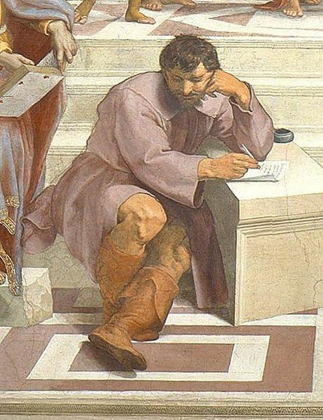 《雅典学院》下方的笔下人物拉斐尔就是的米开朗基罗二胡曲《赛马》mp3图片