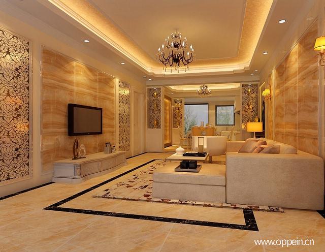 印花壁纸设计搭配装饰画,金色系装修尽显欧式古典风格独特的奢华与