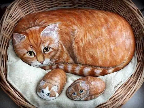 找块石头画一幅风景画 效果也不比在画纸上差~ ▼ 如果你喜欢动物的话