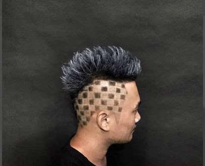 超酷的男士刻痕发型图片