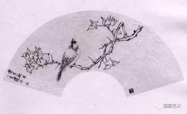 白描教学示范 扇面花鸟画稿