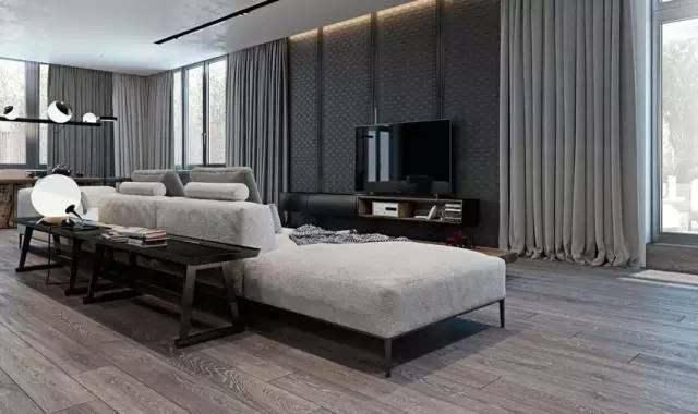 黑灰冷色调的木地板 ▼ 有必要的话,还可以地板上墙