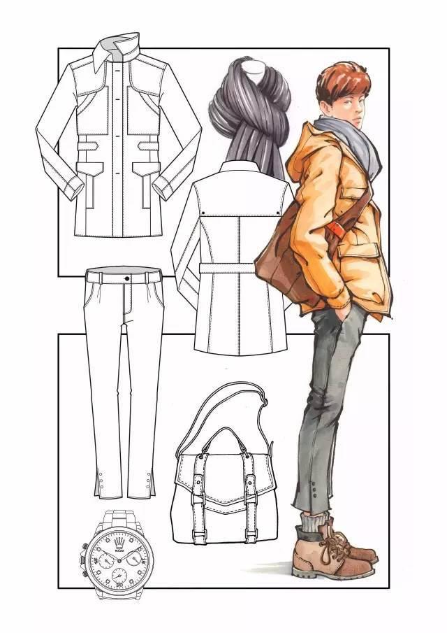 服装画着色练习:马克笔使用技法讲解 3.深入刻画及服饰效果表现 4.