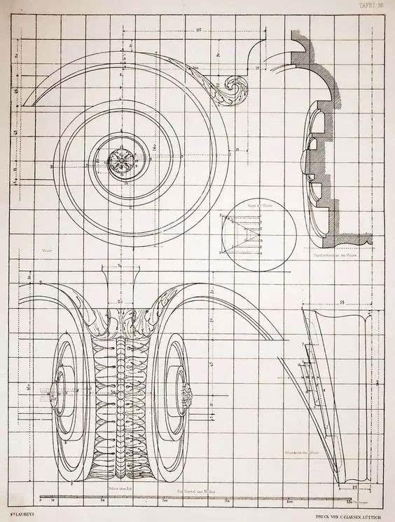 这么复杂的柱头 现在有cad了 画好一个就可以无限复制 当年手工制图