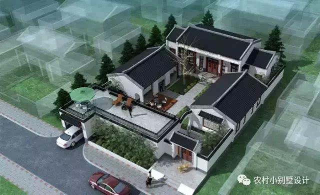 最近仿古建筑农村小型四合院别墅设计案例赏析图片
