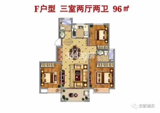 中南山錦花城79㎡a戶型圖(小高層) 戶型:3室2廳面積:79㎡ 中南山錦