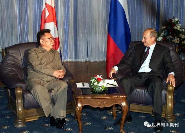 俄罗斯总统普京在符拉迪沃斯托克会晤到访的朝鲜最高领导人金正日.