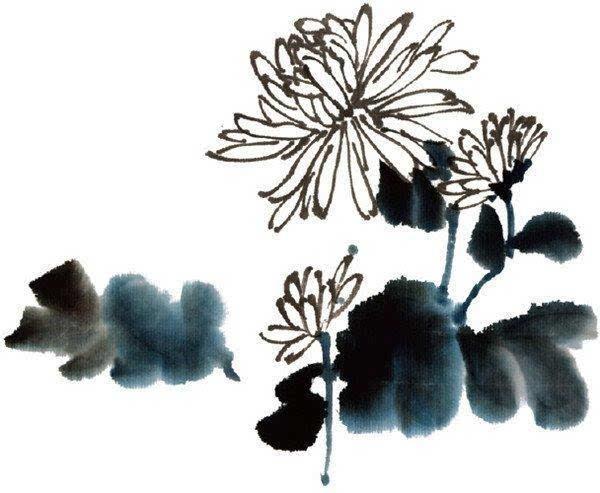 3,用赭墨画作品,用重分子草,用课件染花,藤黄完成.石头热内能ppt墨画图片