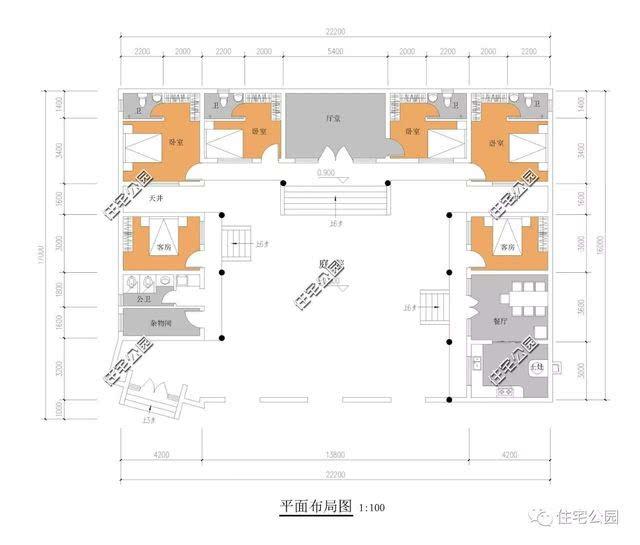 6米x22米自建房设计图