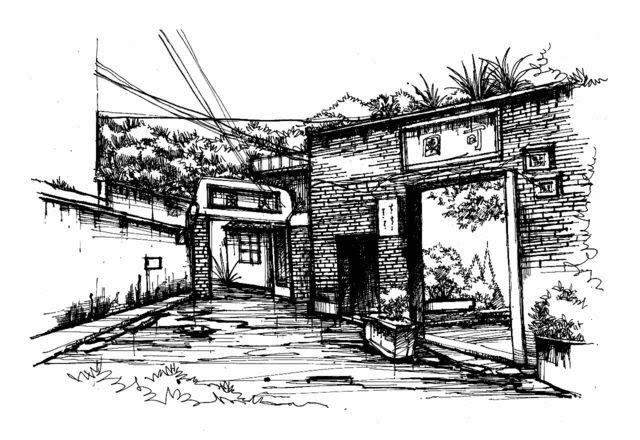 苍霞洲基督教堂手绘图图片