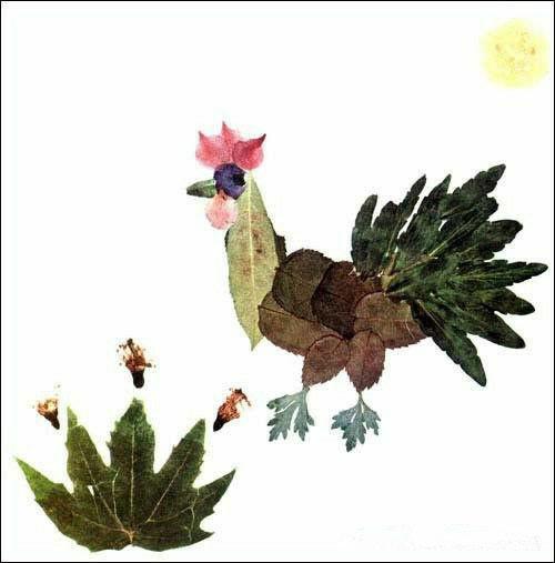 幼儿园手工树叶粘贴_幼儿园图片_树叶粘贴画:池塘小金_手工小制作