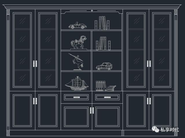 cad书柜平面图画法