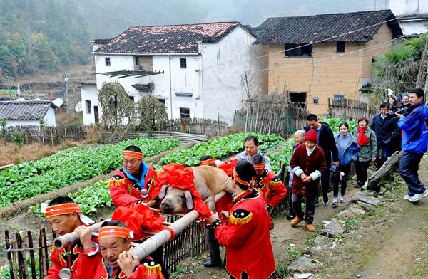 """江西德兴十八亩段自然村""""腊年猪 置年货"""""""
