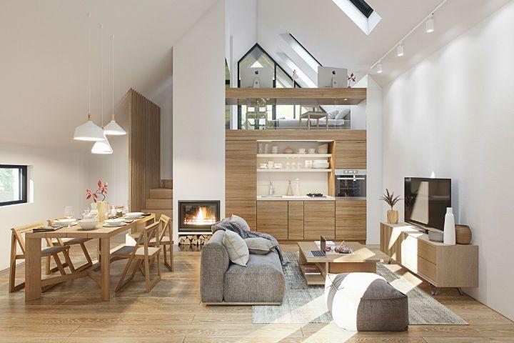 中性色彩搭配辅以不同质地的家具营造明亮的室内设计