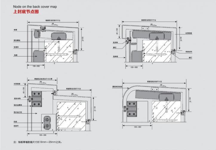冲孔铝单板上封底节点图
