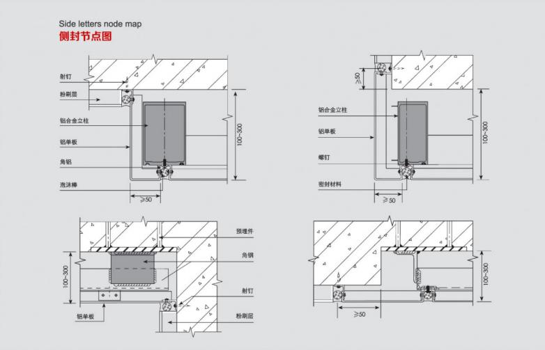 冲孔铝单板侧封底节点图