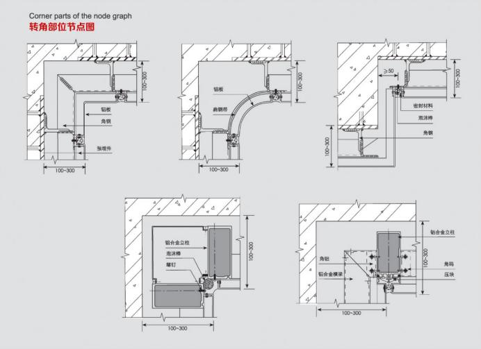 冲孔铝单板转角部位节点图