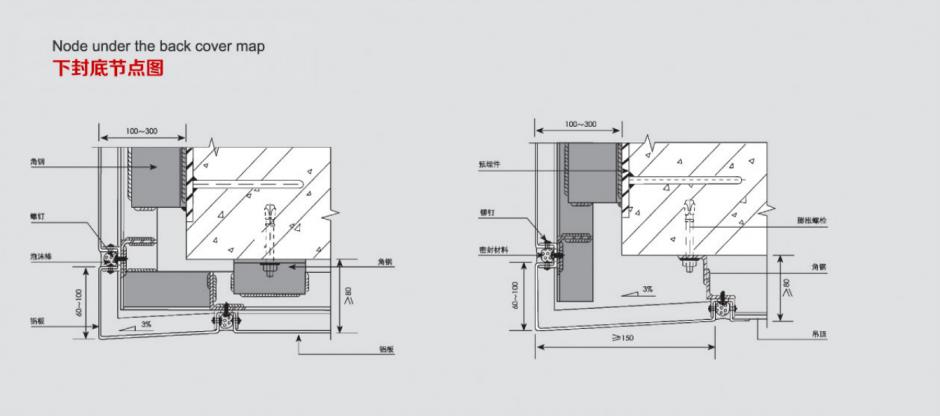 冲孔铝单板下封底节点图