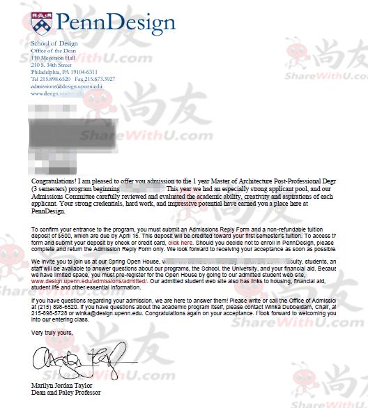恭喜尚友Shi同学获得宾夕法尼亚大学offer